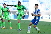 5th July 2020; RCDE Stadium, Barcelona, Catalonia, Spain; La Liga Football, Real Club Deportiu Espanyol de Barcelona versus Leganes; Guerrero controls the high ball in front of Marc Roca of Espanyol
