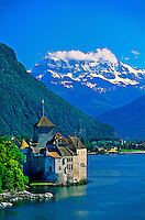 Castle of Chillon (Dent du Midi in background), Lac Leman (Lake Geneva), Montreux, Switzerland