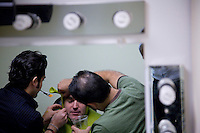 NEW YORK - NOV 3: Brian d'Arcy James, who plays Shrek, receives his Shrek make-up prior to a rehearsal of Shrek, The Musical at The Broadway Theater, on Monday, November 3, 2008, in New York City. (Photo by Landon Nordeman)