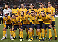Football Soccer: UEFA Champions League AS Roma vs Atletico Madrid Stadio Olimpico Rome, Italy, September 12, 2017. <br /> Athletico Madrid players pose for the pre match photograph prior to the start of the Uefa Champions League football soccer match between AS Roma and Atletico Madrid at at Rome's Olympic stadium, September 12, 2017.<br /> UPDATE IMAGES PRESS/Isabella Bonotto