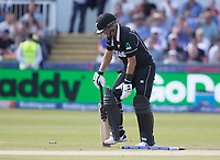 Ross Taylor (New Zealand) picks himself up and prepares to trudge off - given run out during England vs New Zealand, ICC World Cup Cricket at The Riverside Ground on 3rd July 2019