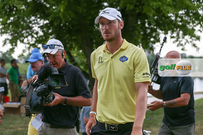 Off to record his flawless round of 67, Chris Wood (ENG) is hounded by the media during the Final Round of the 2015 Lyoness Open powered by Greenfinity at the Diamond Country Club, Atzenbrugg, Vienna, Austria. 14/06/2015. Picture: Golffile | David Lloyd<br /> <br /> All photos usage must carry mandatory copyright credit (&copy; Golffile | David Lloyd)