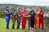 ICC World Twenty20 Qualifier - image courtesy of the International Cricket Council - team captains from those nations whose Qualifying Group matches are in Scotland came together. with the ICC World T20 Qualifying Trophy, at Edinburgh Castle this morning (Wednesday 8th) - players are Asghar Stanikzai (Afghanistan), Rizwan Cheema (Canada), Rakep Patel (Kenya), Peter Borren (Netherlands), Sultan Ahmed (Oman), Mohammad Tauqir (United Arab Emirates) and Preston Mommsen (Scotland) - the schedule of the ICC World Twenty20 Qualifier 2015 involves eight venues in Ireland and Scotland from 9 to 26 July and begins with Scotland v United Arab Emirates at 10am tomorrow (Thursday 9th) at Grange CC, Edinburgh— credit @ICC/Donald MacLeod - 06.7.15 - 07702 319 738 -clanmacleod@btinternet.com - www.donald-macleod.com