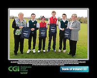 Tandragee GC team with Bank of Ireland Officials Angela Callan and Heather Raney with Junior golfers from across Ulster practicing their skills at the regional finals of the Dubai Duty Free Irish Open Skills Challenge at The CAFRE Greenmount Campus in Antrim. 2/04/2016.<br /> Picture: Golffile | Fran Caffrey<br /> <br /> <br /> All photo usage must carry mandatory copyright credit (© Golffile | Fran Caffrey)