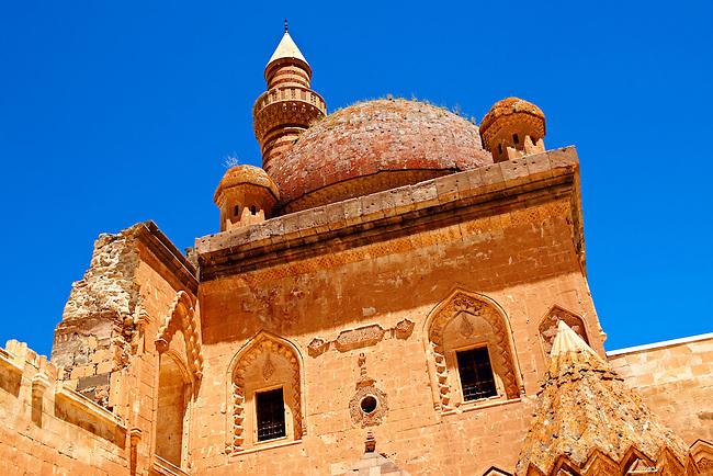 Minarete of the Mosque of the 18th Century Ottoman architecture of the Ishak Pasha Palace (Turkish: İshak Paşa Sarayı) ,  Ağrı province of eastern Turkey.