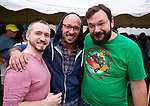 WATERBURY, CT-090818JS09--Joseph Arena of Stamford,  Adam Ayala of Danbury and Steve Blonski of Brookfield, at the 13th annual Brass City Brew &amp; 'Que brew festival and barbecue Saturday at Library Park in Waterbury. <br />  Jim Shannon Republican American