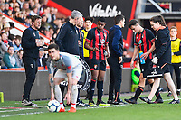 Luke Nippard of AFC Bournemouth right leaves the field injured during AFC Bournemouth Under-21 vs Liverpool Under-21, Premier League Cup Football at the Vitality Stadium on 24th February 2019