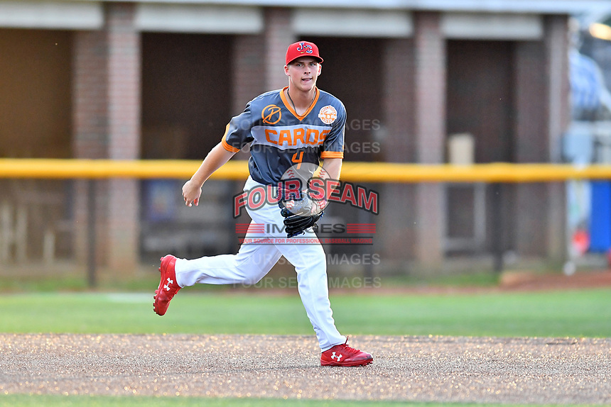 Johnson City Cardinals third baseman Nolan Gorman (4) reacts to the ball during a game against the Pulaski Yankees at TVA Credit Union Ballpark on July 7, 2018 in Johnson City, Tennessee. The Cardinals defeated the Yankees 7-3. (Tony Farlow/Four Seam Images)