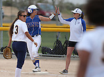 Wildcats' Pamela Sakuma talks with Assistant Coach Bethany Henry-Herman at Edmonds Sports Complex Carson City, Nev., on Saturday, May 2, 2015.<br /> Photo by Cathleen Allison