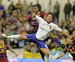 Real Zaragoza's Maurizio Lanzaro (r) and Seydou Keita during La Liga match.October 23,2010. (ALTERPHOTOS/Acero)