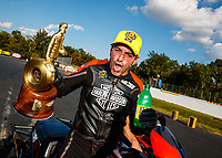 Sep 17, 2017; Concord, NC, USA; NHRA pro stock motorcycle rider Eddie Krawiec celebrates after winning the Carolina Nationals at zMax Dragway. Mandatory Credit: Mark J. Rebilas-USA TODAY Sports