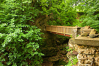 Phelps Park Foot Bridge along hiking trail in the Broadway-Phelps Park Historic District Decorah, Iowa