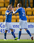 St Johnstone v Inverness Caledonian Thistle...05.10.13      SPFL<br /> Stevie May celebrates his goal with Brian Easton<br /> Picture by Graeme Hart.<br /> Copyright Perthshire Picture Agency<br /> Tel: 01738 623350  Mobile: 07990 594431