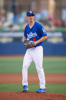 Tulsa Drillers starting pitcher Walker Buehler (4) gets ready to deliver a pitch during against the Corpus Christi Hooks on June 3, 2017 at ONEOK Field in Tulsa, Oklahoma.  Corpus Christi defeated Tulsa 5-3.  (Mike Janes/Four Seam Images)