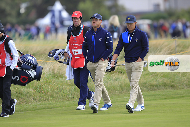 Isaiah Salinda (USA) and John Pak (USA) on the 1st during the Foursomes at the Walker Cup, Royal Liverpool Golf CLub, Hoylake, Cheshire, England. 07/09/2019.<br /> Picture Thos Caffrey / Golffile.ie<br /> <br /> All photo usage must carry mandatory copyright credit (© Golffile | Thos Caffrey)