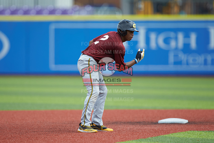 Jimmyll Williams (2) of Hillside High School in Durham, NC takes his lead off of second base during the Atlantic Coast Prospect Showcase hosted by Perfect Game at Truist Point on August 23, 2020 in High Point, NC. (Brian Westerholt/Four Seam Images)