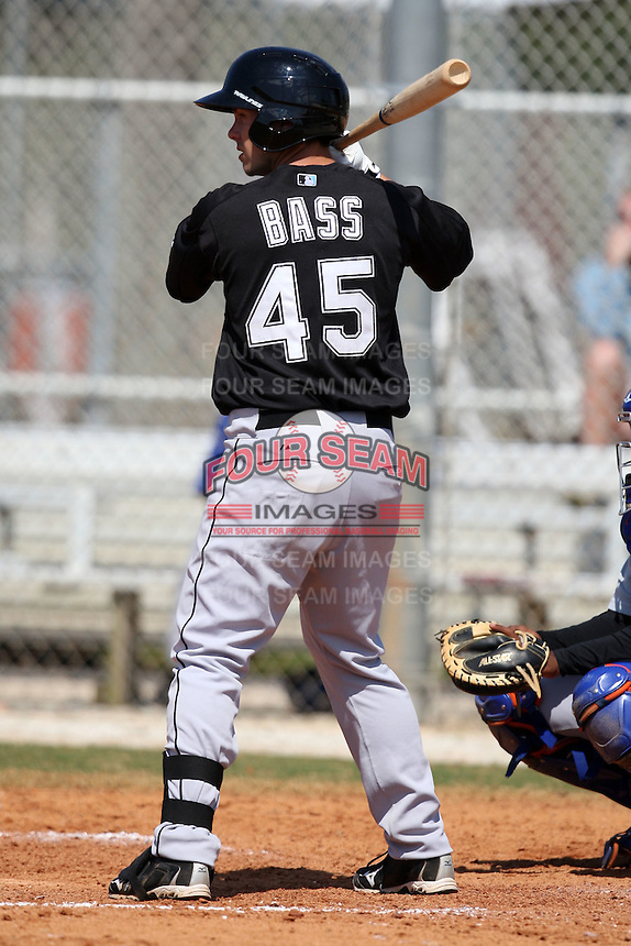 March 19, 2010:  Outfielder Justin Bass of the Florida Marlins organization during Spring Training at the Roger Dean Stadium Complex in Jupiter, FL.  Photo By Mike Janes/Four Seam Images
