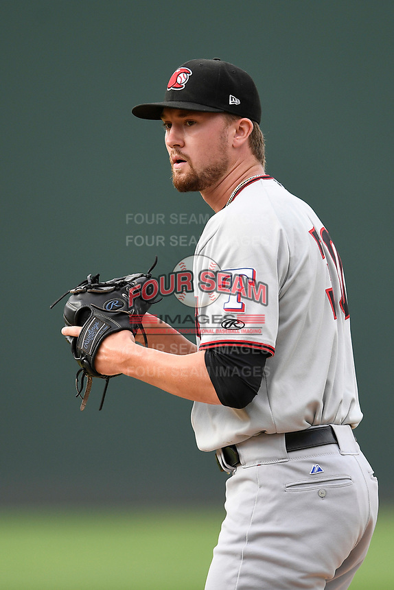 Pitcher Derek Heffel (30) of the Hickory Crawdads delivers a pitch in Game 1 of a doubleheader against the Greenville Drive on Wednesday, July 25, 2018, at Fluor Field at the West End in Greenville, South Carolina. Greenville won, 4-1. (Tom Priddy/Four Seam Images)