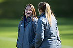 Annie Redovian (left) shares a laugh with a teammate prior to the 2017 Women's College Cup first round match against the North Carolina Tar Heels at Koka Booth Stadium on November 11, 2017 in Cary, North Carolina.  The Tar Heels defeated the Panthers 3-0.   (Brian Westerholt/Sports On Film)