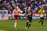 Dax McCarty (11) of the New York Red Bulls. The New York Red Bulls defeated the Philadelphia Union 2-1 during a Major League Soccer (MLS) match at Red Bull Arena in Harrison, NJ, on March 30, 2013.