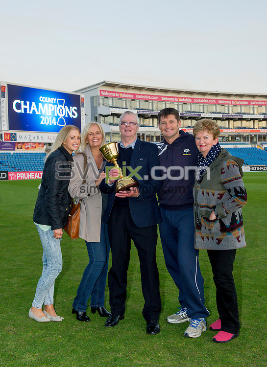 Picture by Allan McKenzie/SWpix.com - 26/09/2014 - Cricket - LV County Championship Div One - Yorkshire County Cricket Club v Somerset County Cricket Club - Headingley Cricket Ground, Leeds, England - Martyn Moxon & family with the Country Championship trophy.