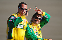 Aug 31, 2008; Fontana, CA, USA; NASCAR Sprint Cup Series driver Tony Stewart (right) with Subway spokesman Jared Fogel prior to the Pepsi 500 at Auto Club Speedway. Mandatory Credit: Mark J. Rebilas-