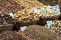 Market display of nuts and candy, La Boqueria marke, Barcelona, Spain