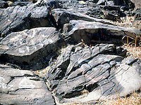 PALISADES SILL<br /> Glacial Features Of Diabase Rock<br /> When a glacier moves over a large rock, it grinds against the surface. This grinding leaves long grooves in the bedrock called striations or smooth polish.