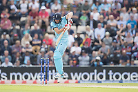Chris Wakes (England) defends a short delivery from Jason Holder (West Indies) during England vs West Indies, ICC World Cup Cricket at the Hampshire Bowl on 14th June 2019
