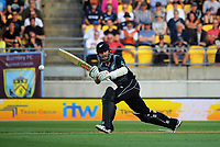 NZ's Kane Williamson bats during the International Twenty20 cricket match between the NZ Black Caps and England at Westpac Stadium in Wellington, New Zealand on Tuesday, 13 February 2018. Photo: Dave Lintott / lintottphoto.co.nz