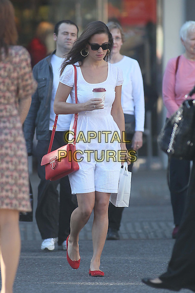 Pippa Middleton arrives for work, London, England..29th September 2011.full length white dress red bag shoes  sunglasses shades coffee drink beverage .CAP/HIL.©John Hillcoat/Capital Pictures.