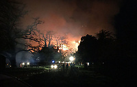 Bmth News (01202 558833)<br /> Pic:  CraigBaker/DWFRS/BNPS<br /> <br /> A multi-millionaire who was arrested on suspicion of starting a fire that destroyed his own stately home has been found dead, it was revealed today.<br /> <br /> Michael Treichl, 68, had been suffering from severe depression before he apparently took his own life last Friday. <br /> <br /> His wife Emma, 54, and their children said they are devastated by his sudden death, which is not being treated as suspicious by police.<br /> <br /> Mr Treichl, a hedge fund manager, was on police bail having been arrested on suspicion of starting the huge blaze at Parnham House in Beaminster, Dorset, on April 15.