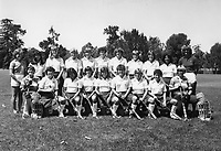1983 Stanford Field Hockey Team: Back Row (L to R): Janet Luce, Suzanne Doi, Susan Fisher, Janet Lohman, Karen Chamberlain, Nell O'Donnell, Mary Donahue, Jen Bleakley, Valerie Jackson, Linda De Los Reyes, Onnie Killefer. Kneeling: Hillary Werhane , Andi Wolpert, Mary Chung, Patsy Huntington, Julie Erman, Terri Boyle, Lisa Stewart, Lisa Jacobson, Bonnie Warner.