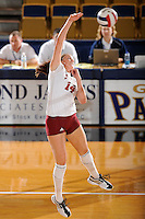 20 November 2008:  Denver middle blocker Jacqueline Paul (14) returns the ball during the WKU 3-0 victory over Denver in the first round of the Sun Belt Conference Championship tournament at FIU Stadium in Miami, Florida.