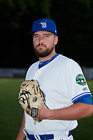 Bluefield Blue Jays pitcher Brennan Price (52) poses for a photo before a game against the Bristol Pirates on July 26, 2018 at Bowen Field in Bluefield, Virginia.  Bristol defeated Bluefield 7-6.  (Mike Janes/Four Seam Images)