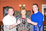 Mary Lynch presents the Farranfore/Maine Valley most promising athlete award to Shane Hand Lispole (left) and Denis Hayes Firies at their annual awards night in the Anvil bar, Boolteens on Friday
