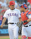 (L-R) Yu Darvish, Geovany Soto (Rangers),<br /> JULY 22, 2013 - MLB :<br /> Pitcher Yu Darvish and catcher Geovany Soto of the Texas Rangers during the Major League Baseball game against the New York Yankees at Rangers Ballpark in Arlington in Arlington, Texas, United States. (Photo by AFLO)