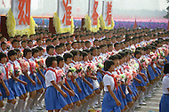 Beijing, China. October 1st, 1984. This huge parade is for the celebration of the 35th Anniversary of the Chinese Revolution. Large representation of the youth. Demostration of unity, progress and overall discipline.