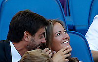 Calcio, Serie A: Lazio vs Juventus. Roma, stadio Olimpico, 27 agosto 2016.<br /> Juventus president Andrea Agnelli, left, and his wife Emma Winter sit on the stand on the occasion of the Serie A soccer match between Lazio and Juventus, at Rome's Olympic stadium, 27 August 2016. Juventus won 1-0.<br /> UPDATE IMAGES PRESS/Isabella Bonotto