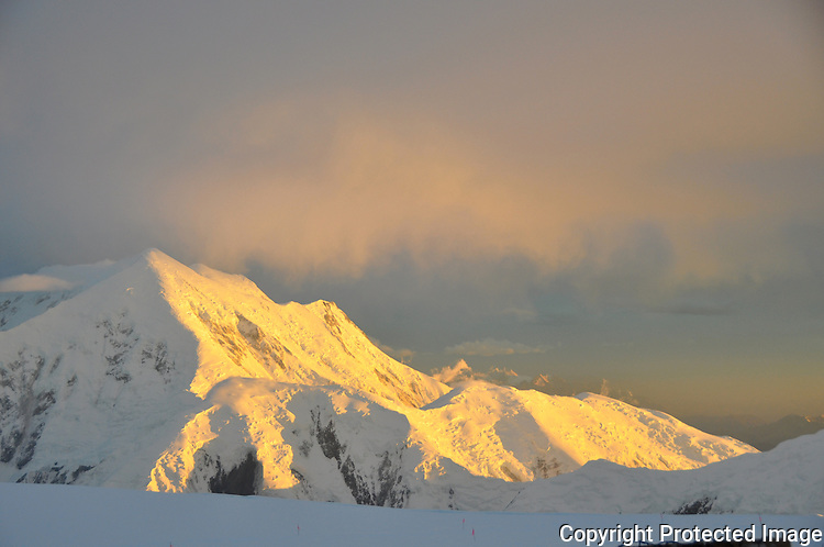 Mount Foraker from the 14,200-foot camp on Denali's West Buttress route, Alaska Range.
