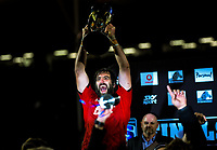 Crusaders captain Sam Whitelock celebrates winning the 2019 Super Rugby final between the Crusaders and Jaguares at Orangetheory Stadium in Christchurch, New Zealand on Saturday, 6 July 2019. Photo: Dave Lintott / lintottphoto.co.nz
