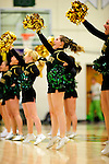 26 January 2010: University of Vermont Catamount Cheerleading Club members entertain the fand at a game against the University of Hartford Hawks at Patrick Gymnasium in Burlington, Vermont. The Hawks defeated the Lady Cats 38-36 in a closely matched America East contest. Mandatory Credit: Ed Wolfstein Photo