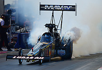 Sept. 23, 2012; Ennis, TX, USA: NHRA top fuel dragster driver Brandon Bernstein during the Fall Nationals at the Texas Motorplex. Mandatory Credit: Mark J. Rebilas-