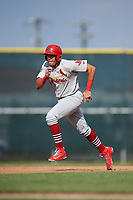 Johnson City Cardinals first baseman Dariel Gomez (25) runs the bases during the first game of a doubleheader against the Princeton Rays on August 17, 2018 at Hunnicutt Field in Princeton, Virginia.  Johnson City defeated Princeton 6-4.  (Mike Janes/Four Seam Images)