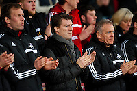 Sunday 05 January 2014<br /> Pictured:Michael Laudrup, Manager of Swansea City<br /> Re: Manchester Utd FC v Swansea City FA cup third round match at Old Trafford, Manchester