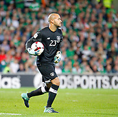 9th October 2017, Cardiff City Stadium, Cardiff, Wales; FIFA World Cup Qualification, Wales versus Republic of Ireland; Darren Randolph with the ball for Republic of Ireland