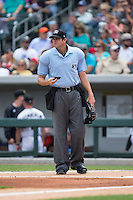 Home plate umpire Ryan Additon during the International League game between the Gwinnett Braves and the Charlotte Knights at BB&T BallPark on May 22, 2016 in Charlotte, North Carolina.  The Knights defeated the Braves 9-8 in 11 innings.  (Brian Westerholt/Four Seam Images)