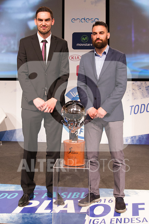 Thomas Satoransky and  Marco Popovic during presentation of the Liga Endesa playoff. May 23,2016. (ALTERPHOTOS/Rodrigo Jimenez)