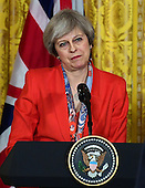 United State President Donald J. Trump and Theresa May, Prime Minister of United Kingdom, conduct a joint press conference later in the day in the East Room of the White House in Washington, DC on Friday, January 27, 2017. <br /> Credit: Ron Sachs / CNP