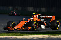 March 26, 2017: Stoffell Vandoorne (BEL) #2 from the McLaren Honda Formula 1 team rounds turn three at the 2017 Australian Formula One Grand Prix at Albert Park, Melbourne, Australia. Photo Sydney Low